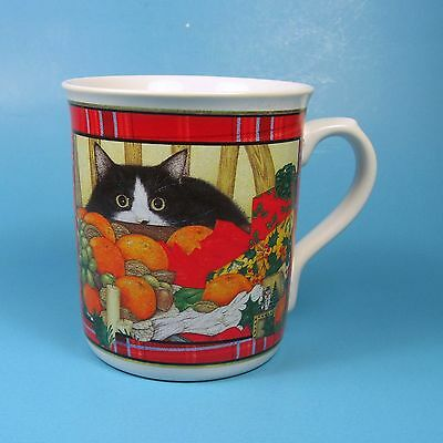 Anne Mortimer Collection Christmas Cat Mug 1996 Enesco