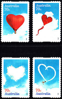 Australia 2015 Love is in the Air Complete set of  stamps S/A uncancelled no gum