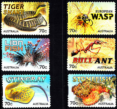 Australia 2014 Things that sting set of  stamps S/A uncancelled no gum