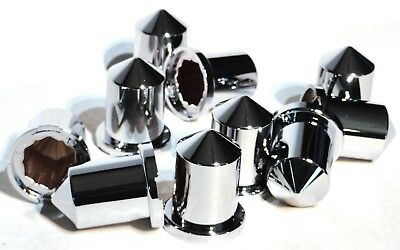 "nut covers(10) 3/4"" & 18MM round pointed chrome plastic 1-9/16"" tall Peterbilt"