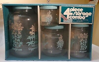 VTG Retro MCM 4 Piece Canister Set Clear Glass Aqua Teal Blue Plastic Lids Herbs