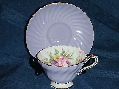 Aynsley Mauve Swirl Cup and Saucer