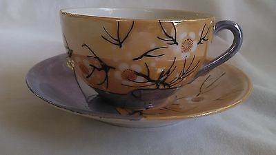 Vintage Lustreware Tea Cup and Saucer Japan - Signed - Pre-owned
