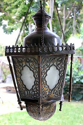 Antique Vintage Old Ornate Brass Bronze Lantern Chandelier 12 lb Hanging Lamp