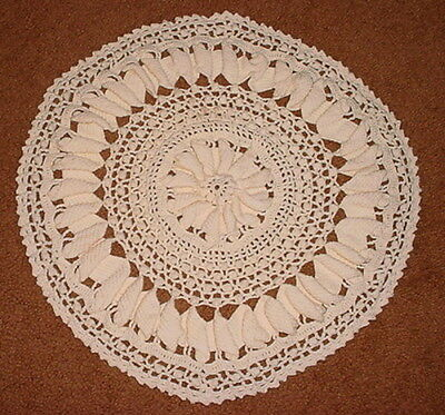 Vintage Ivory Large Round Crochet Doilie