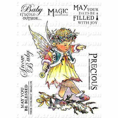 Crafters Companions WINTER FAERIE POPPETS Unmounted Stamps SNOW BERRY WFP-SWBER