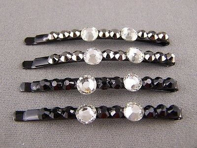 Set pack of 4 faceted crystal grey black bobby bobbi pins barrette hair barrette