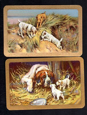 Vintage Swap/Playing  Cards - Gorgeous Dogs & Puppies Pair (LINEN)
