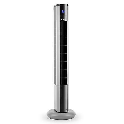 Electric Floor Standing Fan Home Office 3-Speed Silver Slim Tower Cooling Unit
