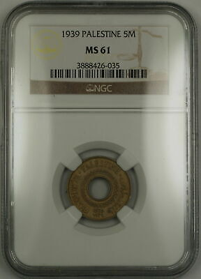 1939 Palestine 5M Five Mils Coin NGC MS-61