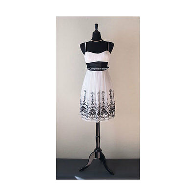 Black Female French Mannequin Jersey Dress Form With Black Tripod Wooden Base