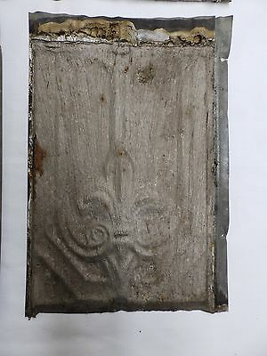 1 Antique Roof Tin Tile Fleur Di Lis Shabby Cottage Chic Ceiling Craft 4563-15