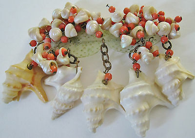 Huge Huge Vintage Early Miriam Haskell Rare Shell &beads Wwii War Era Pin Brooch