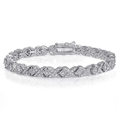 1.00ct TDW Diamond Miracle Set Tennis Bracelet in Gold or Silver Plated Brass