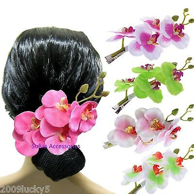 Long Orchid Hair Flower Branch  Clip Festival Holiday Rockabilly Fascinator 342