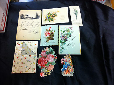 8 1880's Swedish Greeting Cards And Cut Outs