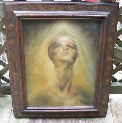 """VINTAGE OIL PAINTING ON CANVAS """"Woman Looking Up"""""""