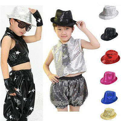 Child Kid Dance Party Club Fedora Bling Sequin Jazz Hat Trilby Stage Performance