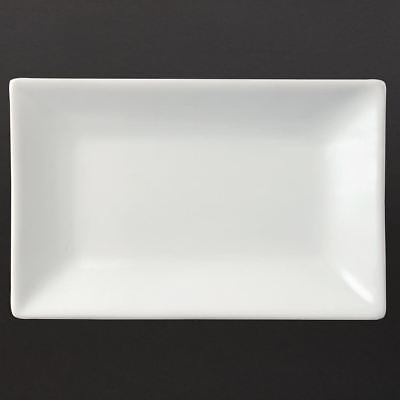 6X Olympia Serving Rectangular Platters 200X130mm Porcelain White Catering