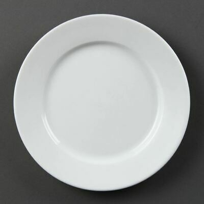 Olympia Whiteware Wide Rimmed Plates in White - Porcelain - Pack x6 - 202mm