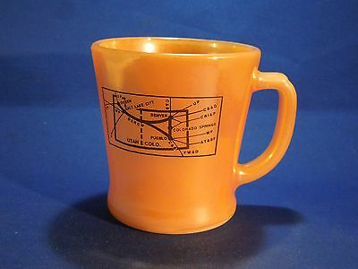 Vintage Rio Grande the Action Railroad Anchor Hocking Fire-King Ware Mug