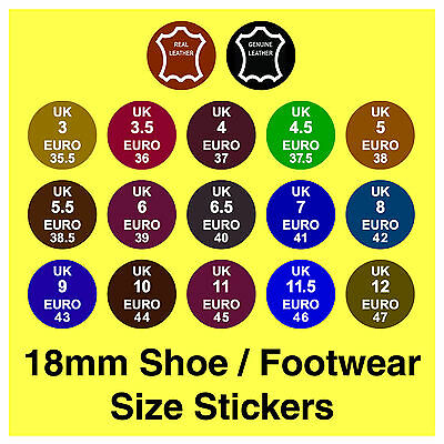 Shoe Size Stickers UK  Euro + Real / Genuine Leather Labels Removable Adhesive