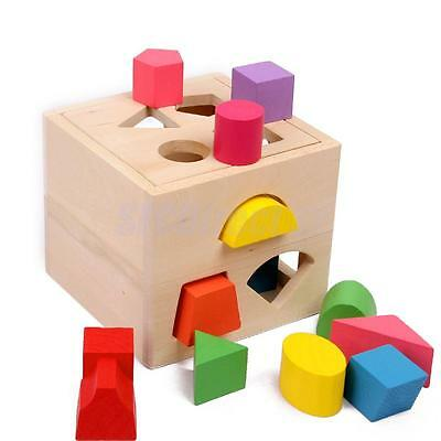 Wooden Block Sorting Sorter Box Baby Toddler Kids Color Shape Learning Toy