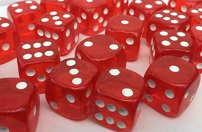 10 x LARGE Six Sided Translucent Red Dice 19mm Casino Craps