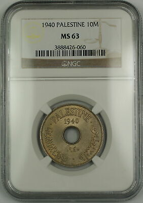 1940 Palestine 10M Ten Mils Coin NGC MS-63