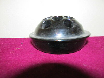 Antique L.E. Smith Black Amethyst 13 Hole High Domed Round Flower Frog VFC