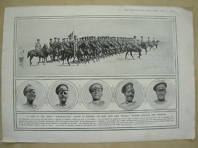 A Page Ww1 Illustrated War News 1914 Russian Cossacks And Infantry