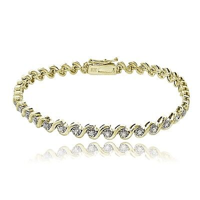 Gold over Sterling Silver .50ct TDW Diamond Miracle Set S Design Tennis Bracelet