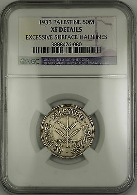 1933 Palestine 50M Mils Silver Coin NGC XF Details Excessive Surface Hairlines