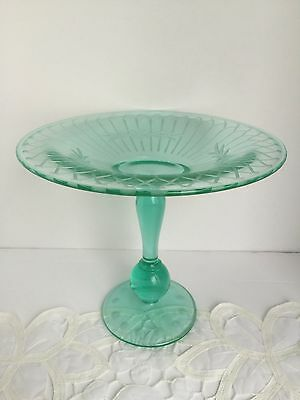 Vintage Pairpoint Green Translucent Etched Glass Pedestal Compote Candy Dish