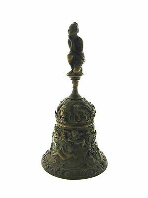 Victorian C.1900 Antique Bronze Dinner Bell Amazing Design Lady Handle