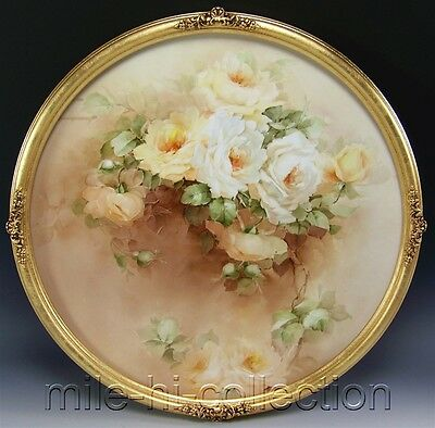 """20"""" MASTER GEORGE LEYKAUF HAND PAINTED ROSES PAINTING LIMOGES FRAMED WALL PLAQUE"""