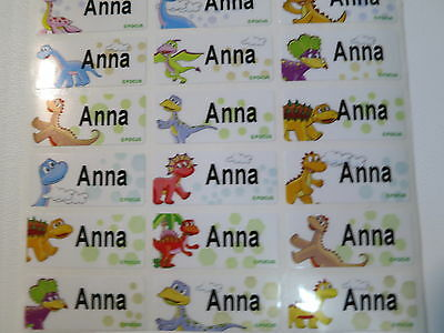 72 Dinosaur Personalized Name Stickers Water Proof  3 cm x 1.3 cm Labels
