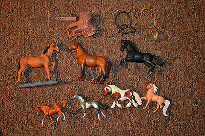 7 Lot Horse Pony Collectible Breyer Germany Plastic Harness Saddle 7""
