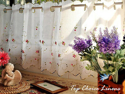 Country Style French Provincial Home Kitchen Embroidery Rose Cafe Curtain
