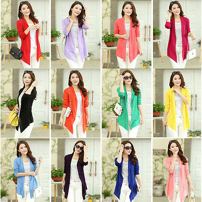 New Summer Women's Casual Long Sleeve Cardigan Very Thin Sweater Coat Outwear