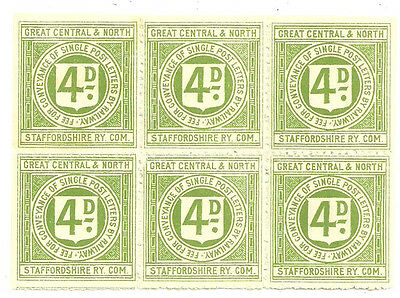 Block Of 6 Great Central & North Staffordshire Ry Com Railway Letter Stamps