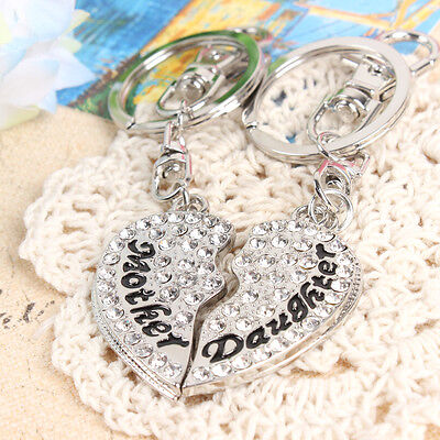 2pcs Mother Daughter Love Heart Pendant Crystal Purse Silver Key Chain Cute Gift