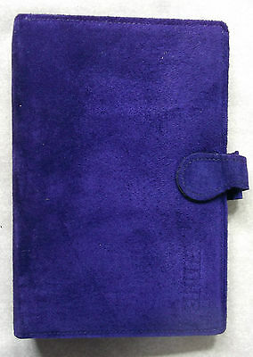 New London Organiser Company Purple Suede Leather Standard Personal File Diary