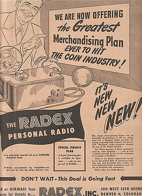 The RADEX Inc Personal Radio 1948 Ad- for hospitals/pillow speaker