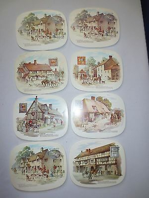 Vintage Antique English Inns Hot Pad Trivets - Set of 8 Farmers Horses
