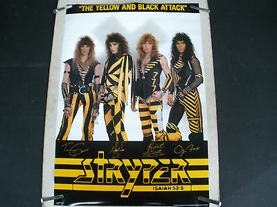 RARE STRYPER YELLOW AND BLACK ATTACK 1985 VINTAGE ORIGINAL MUSIC POSTER