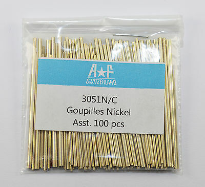 Precision AF Swiss Quality Assorted Tapered Nickel Watch Bracelet Pins 100 units