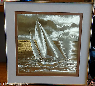 719/ Nautical Sailboat Schooner Iridescent Metallic Illusion Gold Foil 3D PRINT