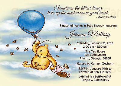 Winnie the Pooh Baby Shower Custom Invitation, Personalized, Piglet