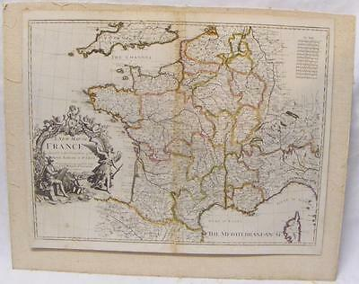 "RARE John Senex Map of France Circa 1708  - About 19""x23"""